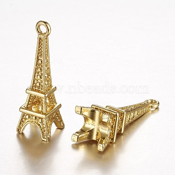 Brass Pendants, Long-Lasting Plated, Real 24K Gold Plated, Eiffel Tower, Lead Free & Cadmium Free,  21.5x6.5x6.5mm, Hole: 1mm(X-KK-N0108-07G-RS)