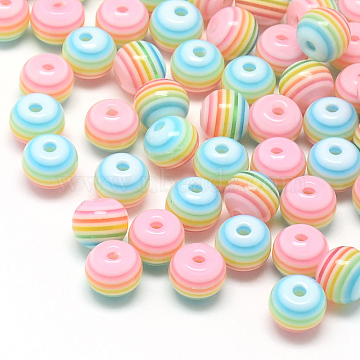 Transparent Stripe Resin Beads, Round, Pink, 8mm, Hole: 2mm(X-RESI-S345-8mm-09)