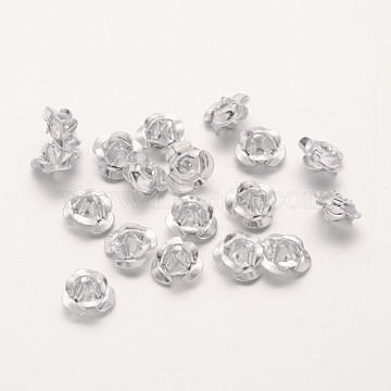 Aluminum 3D Rose Flower, Tiny Metal Beads, Silver, 6x4.5mm, Hole: 1mm, about 920~950pcs/bag(AF6mm001Y)
