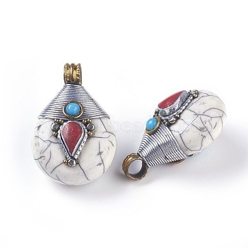 Tibetan Style Pendants, with Synthetic Turquoise, Brass Findings, teardrop, White, 26.5x38.5x21.5mm, Hole: 5.5mm(TIBEB-E079-14A)