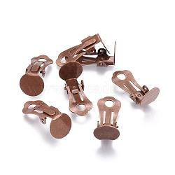 Brass Clip-on Earring Findings, Red Copper, 18.5x9.5mm, Hole: 3.3mm(X-KK-H168-R)