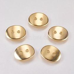 Bouton en 304 acier inoxydable, ovale, or, 14x10.5x1mm, Trou: 1.5mm(STAS-G173-13G)