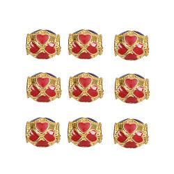 Perles en émail d'alliage de style chinois, Canon avec trèfle, or, colorées, 8~8.5x7.5mm, Trou: 3mm(X-ENAM-L015-01A-G)