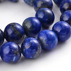 """Chapelets de perles rondes en lapis-lazuli naturel, 10mm, trou: 1mm; environ 39 pcs/chapelet, 15.3""""(G-M230-02-10mm)"""