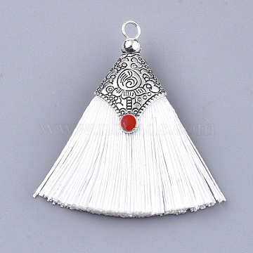 Polyester Tassel Pendant Decorations, with Alloy Findings and Enamel, Fan Shape, Antique Silver, White, 45~50x40~44x7~10mm, Hole: 2.5mm(X-FIND-T036-01U)