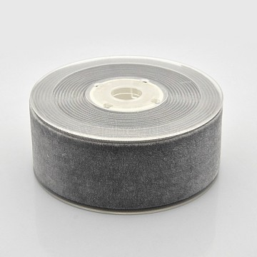 Polyester Velvet Ribbon for Gift Packing and Festival Decoration, Dark Gray, 1-1/2 inches(38mm), about 20yards/roll(18.29m/roll)(SRIB-M001-38mm-017)