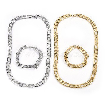 304 Stainless Steel Jewelry Sets, Figaro Chains Necklaces & Bracelets, Mixed Color, Necklace: 23.8 inches(60.5mm); Bracelets: 8-5/8 inches(22cm)(SJEW-L138-04B-M)