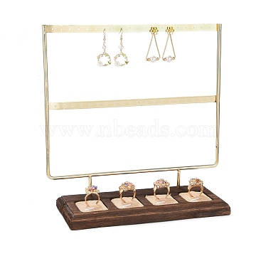 Iron 2-Tier Earring & Finger Ring Display Stand, with Burap & Wood Base, Golden, 25x9x24.8cm(EDIS-K003-02G)