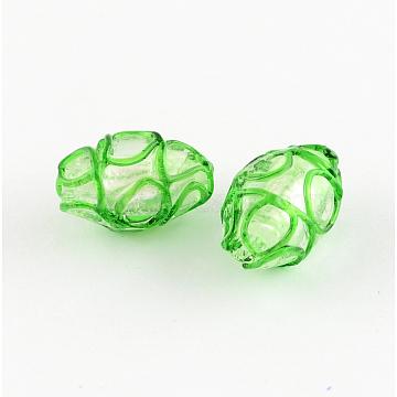 Handmade Lampwork Beads, Oval, Lime Green, 16x11mm, Hole: 1.4~1.6mm(X-LAMP-R112-04)