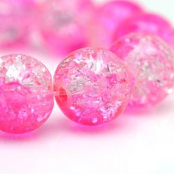 "Cuisson peints en verre craquelé brins de perles, rond, hotpink, 4mm, trou: 1.1~1.3mm; environ 200 pcs/chapelet, 31.4""(X-CCG-S001-4mm-09)"