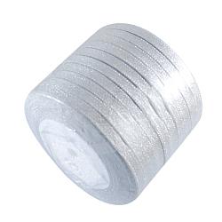 ruban de satin sparkle, avec des cordes métalliques argentées, Valentin cadeaux boîtes colis, argent, 3 / 4 (20 mm); 25 yards / rouleau (22.86 m / roll), 10 rouleaux / groupe, 250 yards / groupe (228.6 m / groupe)(RSC20mmY-016)