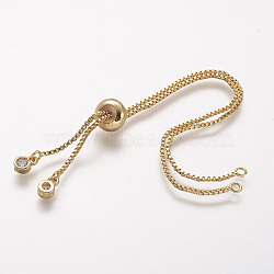 Rack Plating Brass Chain Bracelet Making, with Rhinestone, Long-Lasting Plated, Slider Bracelets Making, Cadmium Free & Lead Free, Real 18K Gold Plated, 120~126x1mm, Hole: 1.5mm(X-KK-A142-017G)