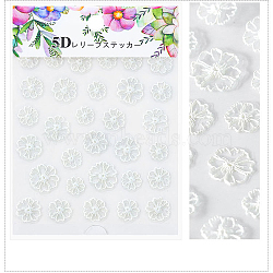 5D Nail Art Water Transfer Stickers Decals, Flower, Clear, 8.2x6.4cm(X-MRMJ-S008-084S)
