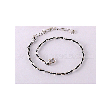925 Sterling Silver Bracelets, with Leather Cord, Black, Platinum(BJEW-AA00086-03P-01)
