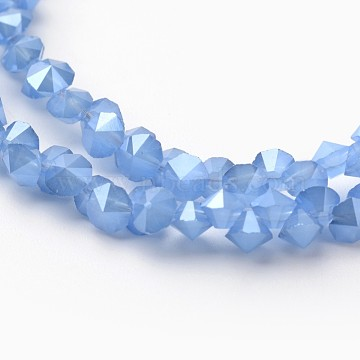 4mm CornflowerBlue Diamond Glass Beads