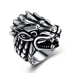 Bagues en acier inoxydable pour hommes, anneau à large bande, tête de dragon, taille 12, argent antique, 21.4mm(RJEW-BB29920-12)