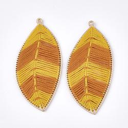 хлопчатобумажная тканая большая подвеска, сплава с выводами, лист, золотой, золото, 73x35x3 mm, отверстия: 1.8 mm(FIND-T047-01E)