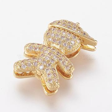 Brass Micro Pave Cubic Zirconia Clasps, Boy, Real 18K Gold Plated, 18.5x12x5.5mm(ZIRC-P064-03G)