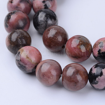 Natural Rhodonite Beads Strands, Round, 6~6.5mm, Hole: 1mm, about 63pcs/strand, 15.5 inches(X-G-Q462-6mm-25)
