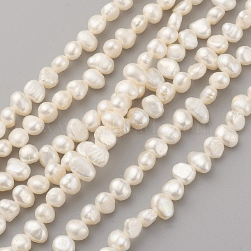 Natural Cultured Freshwater Pearl Beads Strands, Nugget, Old Lace, 6~8x4.5~5.5mm, Hole: 0.5mm, about 61~64pcs/strand, 13.7~13.9 inches(35~35.5cm)(PEAR-G007-04B)