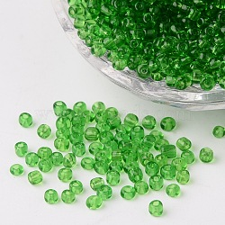8/0 Glass Seed Beads, Transparent, Round, Green, 3mm, Hole: 1mm; about 1097pcs/50g