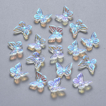 Transparent Spray Painted Glass Charms, AB Color Plated, Butterfly, Clear AB, 9.5x11x3mm, Hole: 0.8mm(X-GLAA-T016-20)