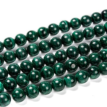 Natural Malachite Beads Strands, Round, 8mm, Hole: 1mm; about 49pcs/strand, 15.5inches(39.5cm)(G-O166-07B-8mm)