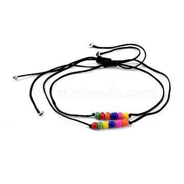 Adjustable Nylon Cord Braided Bead Bracelets, Rainbow Bracelets , with Round Glass Seed Beads, Colorful, Inner Diameter: 0.8~10.4cm(3/8~4-1/8 inches); 2pcs/set(BJEW-JB05390)