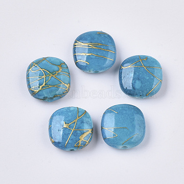 Drawbench Acrylic Beads, Square, DeepSkyBlue, 12x11.5x5mm, Hole: 1mm; about 1130pcs/500g(DACR-T001-02A)
