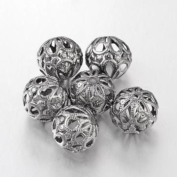 Gunmetal Iron Round Filigree Beads, Filigree Ball, 18mm, hole: 1.5mm(X-E064Y-B)