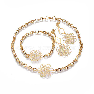 304 Stainless Steel Jewelry Sets, Stud Earrings & Necklaces & Bracelets, Flower, Golden, 16.7 inches(42.5cm), 68x27mm, Pin: 0.7mm, 9 inches(23cm)(SJEW-G073-04G)