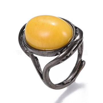 Adjustable Natural Agate Finger Rings, with Brass Findings, Oval, Size 8, 18mm(RJEW-F094-03B-B)