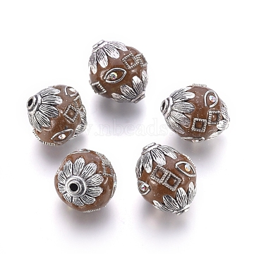 Handmade Indonesia Beads, with Alloy Findings, Round, Antique Silver, Coconut Brown, 18x21mm, Hole: 2mm(IPDL-E010-05E)