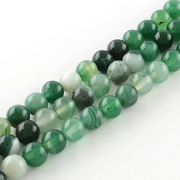 brins de perles rondes en agate à bandes naturelles / agate à bandes teintées, mediumseagreen, 4 mm, trou: 1 mm; environ 95 perle / brin, 15.7(X-G-R342-4mm-06)