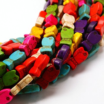 "Perles synthèse poissons turquoise brins, teint, couleur mixte, 20x10x5mm, trou: 1mm; environ 20 pcs/chapelet, 15.7""(X-TURQ-I010-34)"