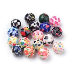 Perles acryliques imprimés opaques, rond, couleur mixte, 11.5~12x11mm, Trou: 2.5mm(MACR-S271-12mm-M)