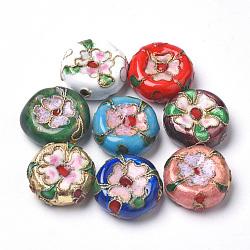 perles en cloisonné main, plat rond, couleur mélangée, 15.5x7 mm, trou: 1 mm(CLB-S006-09)