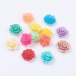 Смешанный цвет цветок смолы кабошоны, 18~20x9 мм