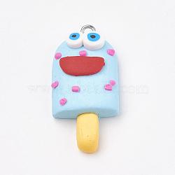 Pendentifs en pâte polymère manuels, avec les accessoires en fer, glace avec sourire, platine, bleu ciel, 34~35x16~17x8~9mm, Trou: 2mm(X-CLAY-T012-23B)
