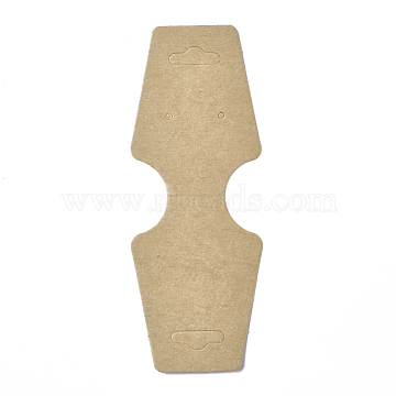 Cardboard Fold Over Paper Display Hanging Cards, Used For Necklace, Earrings and Pendants Accessory Display, BurlyWood, 120x45x0.4mm, Hole: 2mm and 6.5x18mm(CDIS-E007-13)