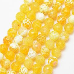 Natural Fire Agate Bead Strands, Round, Grade A, Faceted, Dyed & Heated, Yellow, 6mm, Hole: 1mm; about 61pcs/strand, 15inches