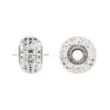 Austrian Crystal Rhinestone Beads, 80201, Crystal Passions, Large Hole BeCharmed Pavé with Xilion-cut Square, 001_Crystal, 15mm, Hole: 4.5mm(80201-001)