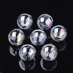 Perles de globe en verre soufflé faites à la main, de couleur plaquée ab , rond, clair ab, 12x11mm, Trou: 1~1.5mm(X-DH017J-1-12mm-AB)