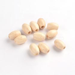 Perles de baril de bois, sans plomb, teint, blanc, 5 mm x 8  mm, Trou: 2mm(X-TB096Y-4)