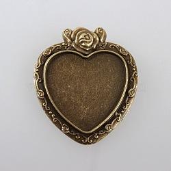 Valentines idées cadeaux alliage sculptés rose supports de lunette pendentif cabochon, sans nickel, bronze antique, plateau de coeur: 25x23 mm; 38x33x2 mm, Trou: 2mm(X-TIBEP-M018-112AB-NF)