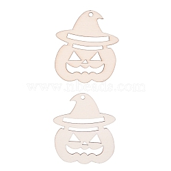 Pumpkin Shape Halloween Blank Wooden Cutouts Ornaments, for Halloween Hanging Decoration, Kids Crafts DIY Party Supplies, BurlyWood, 78x67x2mm; Rope: 320x1mm(WOOD-L010-08)