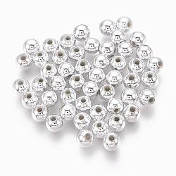 abs perles en plastique, perles électrolytiques environnementales, arrondir, argenté, 4 mm, trou: 1.4 mm(X-KY-G007-4mm-S)