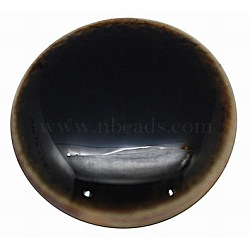 плоские круглые ручной работы хрустят фарфоровые кабошоны, кофе, 25x5 mm(X-PORC-P002-14)