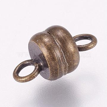 Brass Magnetic Clasps, Flat Round, Antique Bronze, 11x6mm, Hole: 2mm(X-KK-G318-04AB)