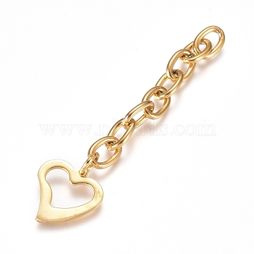 304 Stainless Steel Chain Extender, Cable Chain, with Pendants, Heart, Golden, 66.5mm, Link: 9x6x1.4mm(X-STAS-G221-02G)